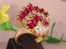 Diamond and ruby ​​ring.