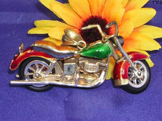 Men's motorcycle pendant with green, red and yellow enamel. - 14kt gold