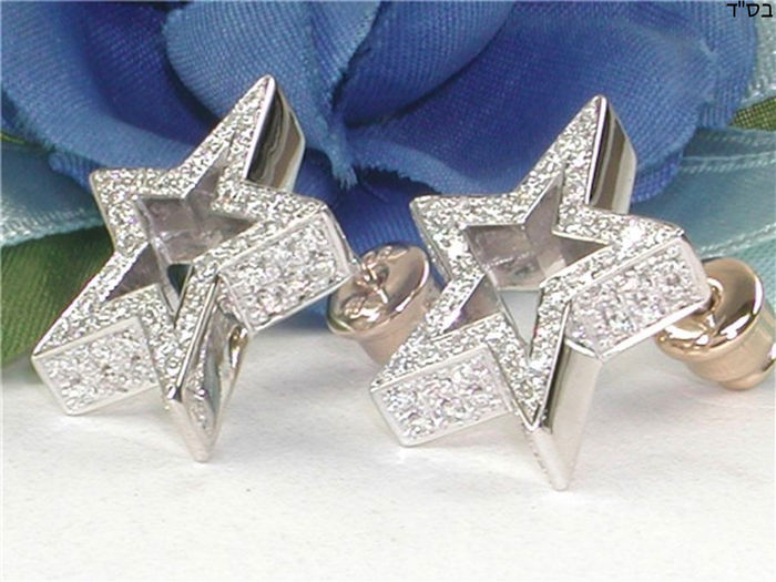Star earrings with diamonds – 2.20 ct in total – 18 kt / 750 white gold – Width: 1.5 cm