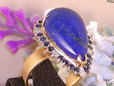 Vintage diamond, sapphire and lapis lazuli cocktail ring, in total: 10.30 ct. - Ring size: adjustable up to size 70, free of charge