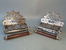 Set identical silver plated toilet roll holders in Victorian style, 21st century