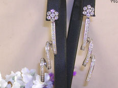 Dangle earrings set with diamond – 1.20 ct in total F/VS1