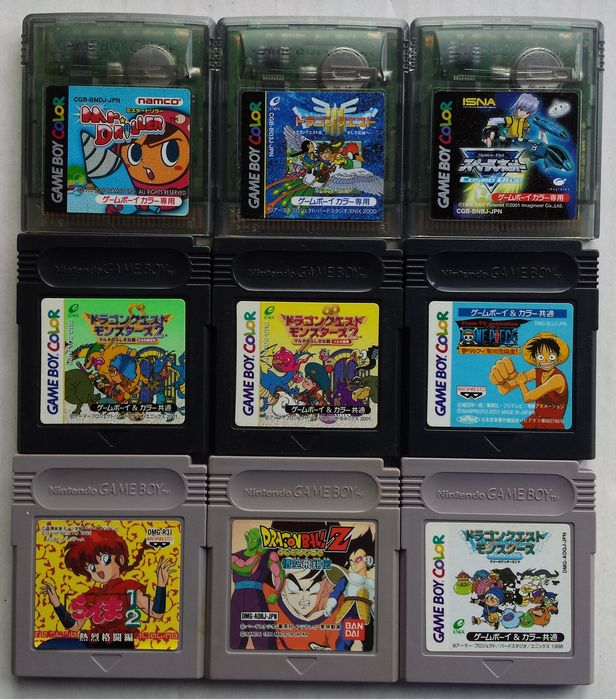 Lot of 9 Game Boy/Color game cartridges (Japanese imports, region ...
