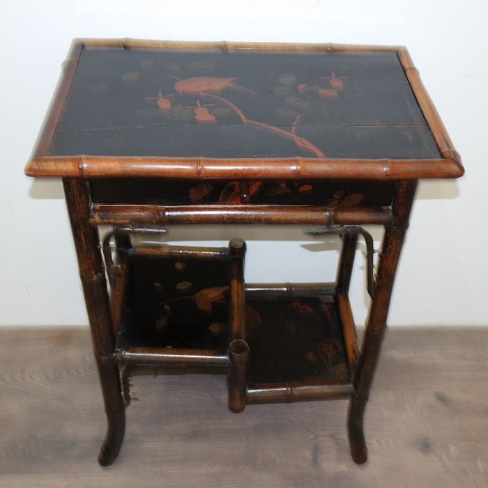 1870 antique black lacquer writing desk table painting bird and - Meiji Period Japan, C. 1870 Antique Black Lacquer Writing Desk Table
