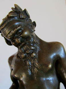 Claude Michel Clodion - Art Nouveau bronze, sculpture of  Bacchus
