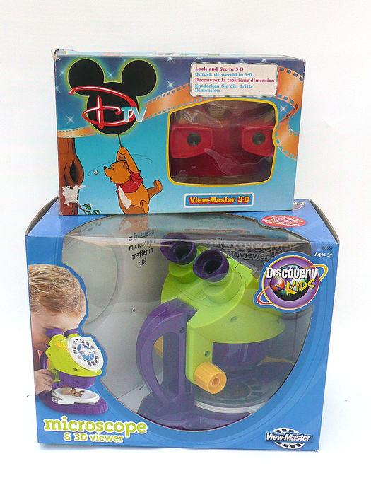 View-master microscope and Disney Channel gift set, each with 3 reels, in original packaging