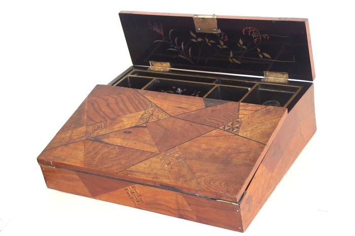 A fine walnut, ebonised and parquetry writing slope - with black lacquered interior - France - circa 1900
