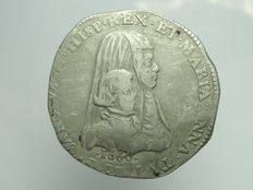 Duchy of Milan – Filippo 1666 Carlo II with the Queen Mother – Silver