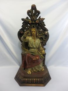 Sacred Heart -  Wood and plaster - Jesus Sitting - Casa Pou Arte - Circa 1930.
