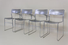 Designer unknown - Set of 4 metal dining chairs