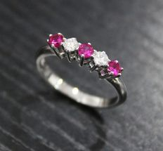 Gold ring with 2 diamonds and 3 rubies.  ***No reserve price***