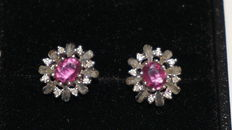 White gold earrings with natural rubies and diamonds