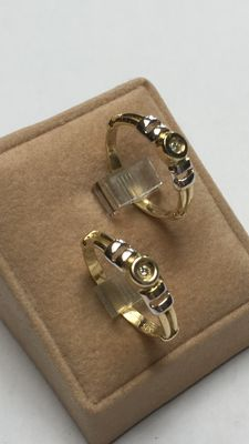 Set of 14 kt gold bi-colour rings with diamond - ring size 17 and 19 1/4