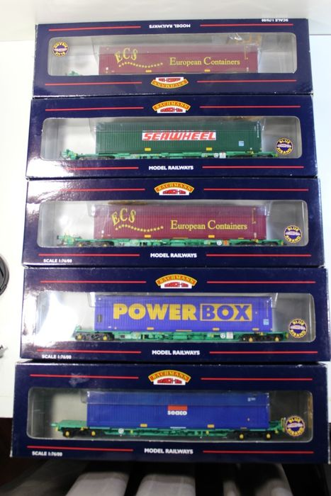 Bachmann OO - 37-300/1/2 - 5 x British Intermodal Wagons
