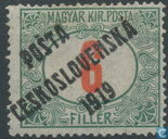 Hungarian postage with print