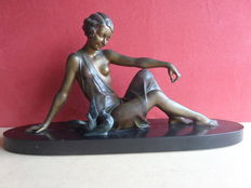 Art Deco sculpture of a woman with pigeons - signed Godard