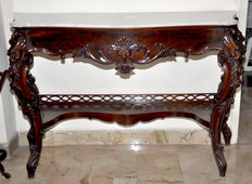 A Sicilian Rococo style console table - with white marble top - Italy - late 19th century