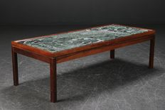 Unknown designer - rosewood coffee table with inlaid marble top