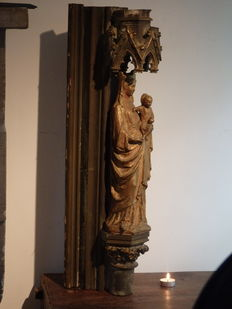 Maria statue of plaster with large console - Brussels - Belgium - ca. 1870
