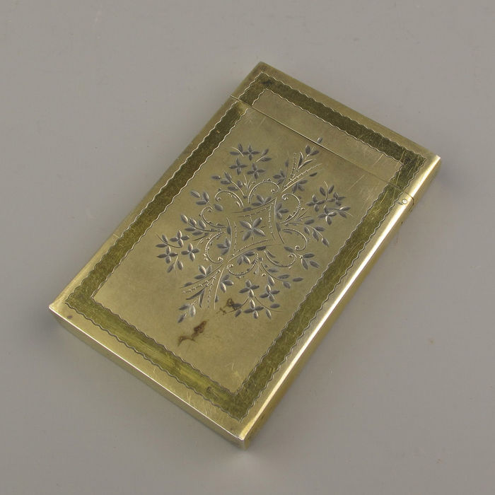 Gilded silver business card holder, approx. 1900 - Catawiki