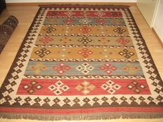 Afghan Kelim handmade - 20th century - with certificate of authenticity, 250x170 cm. No reserve price, starts at €1.
