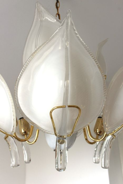 Franco Luce For Murano Brass Chandelier With 9 Large