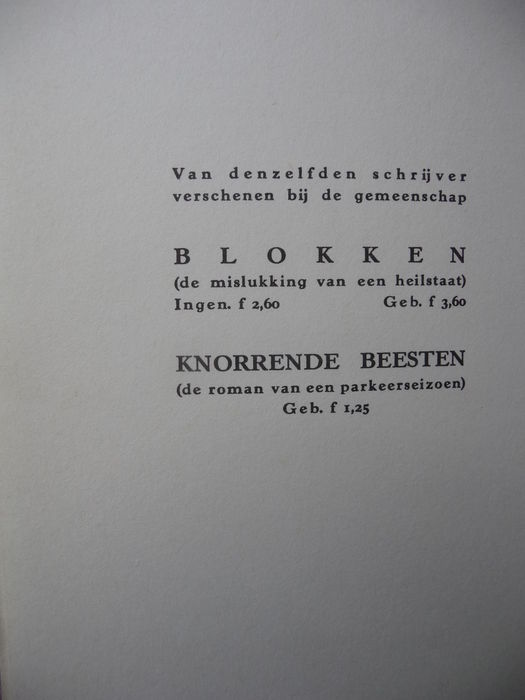 F Bordewijk Lot With Facsimile Editions Of Bint And