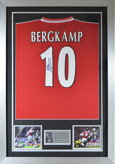 Personally Signed Dennis Bergkamp Arsenal FC Legend Framed Shirt