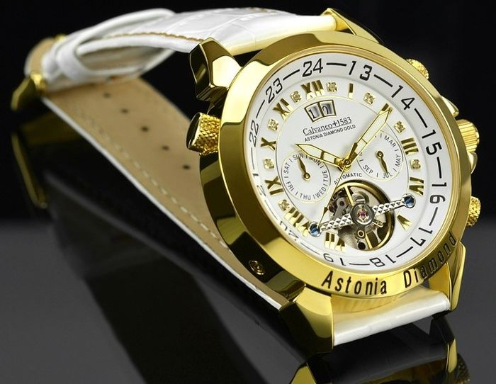 CALVANEO 1583 Astonia Diamond gold / white - orologio da polso uomo.