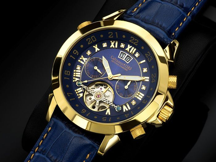 CALVANEO 1583 Astonia Diamond Golden Blue. Orologio da polso da uomo