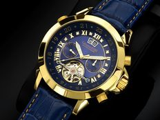 CALVANEO 1583 Astonia Diamond Golden Blue Men's wristwatch New