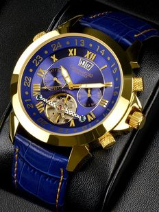 Calvaneo 1583 Astonia Luxury Gold Blue. Men's wristwatch. New
