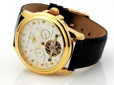 CALVANEO 1583 Evidence Diamond Gold Dual Time Men's wrist watch.