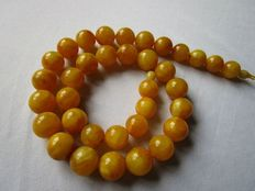 Egg yolk butterscotch colour Baltic amber necklace  made from Baltic Amber, 76 grams