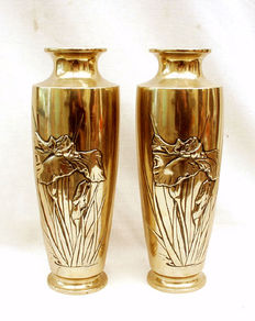 A pair of bronze Art Nouveau vases