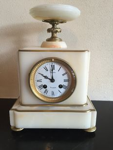A Neoclassical style onyx and brass mounted mantle clock, Biessy, Montlhery, France, circa 1900