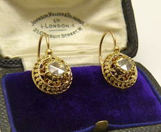 Huge antique Napoleon III 'dormeuses' earrings in solid 18 kt gold set with 1 ct of rose cut diamonds