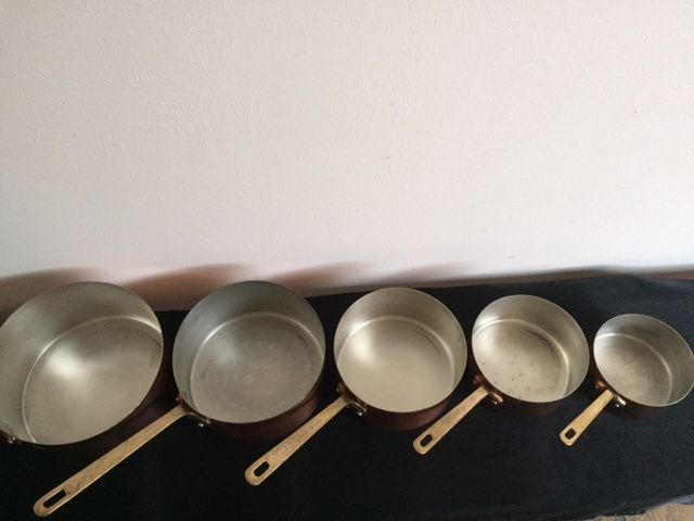 Vintage french pan set by mataux ouvres art et cuisine for Art and cuisine ceramic cookware