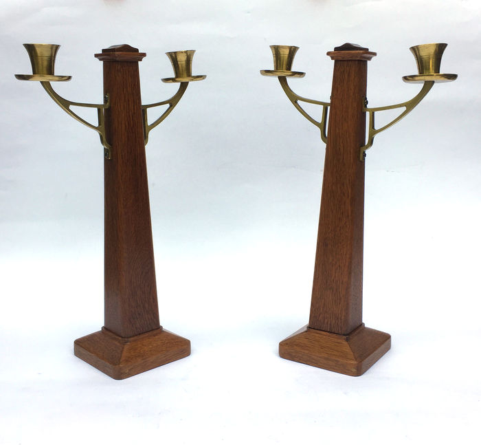 Two Art Deco candlesticks with brass candle holders - Catawiki