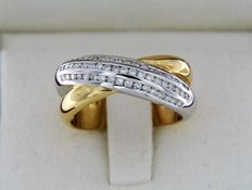 Two-tone ring with diamonds - Size 54