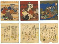 Shunga, 6 prints by Utagawa Kunisada (1786-1865) 3 prints depicting famous poets in sexual situations accompanied by 3 prints with their erotic alluding poems. - Japan - ca. 1840-1845