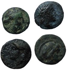 Greek Antiquity - Lot of 4X coins: 1- IONIA. Kolophon. Ae (Circa 330-285 BC). Pausanias, magistrate. 2- IONIA. Leukai. Ae (Circa 350-300 BC). 3- MYSIA. Parion. Philetairos (282-263 BC). Ae. 4- Athena / Bull