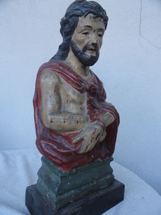 Polychrome papier-mâché sculpture of Christ at the Column - Station of the Cross - Neapolitan manufacturing - around 18th century
