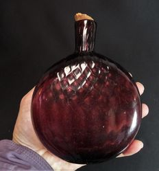Hip flask with decoration, glass, excavation find - 15.5 cm