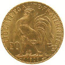 "France – 20 francs 1909 ""Liberty Head"" - gold."