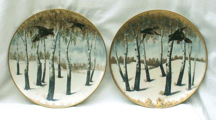 Ernst Wahliss - Rare pair of Wiener Secession winter plates