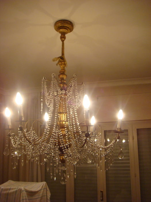A Genoese gilt wood and cut glass/crystal 6-light chandelier - Italy - early 20th century