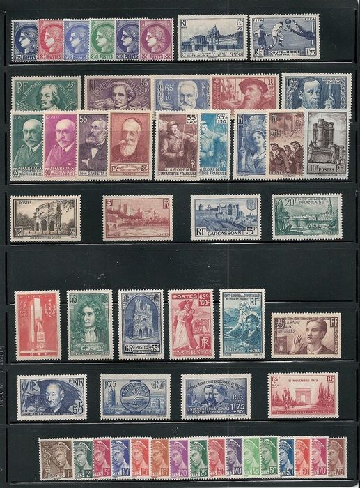 France 1938 - Complete year 1938, mint ** without hinge, value: € 787 - Yvert n°372-418