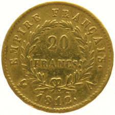 France – 20 Francs 1812A Napoleon Empereur – gold