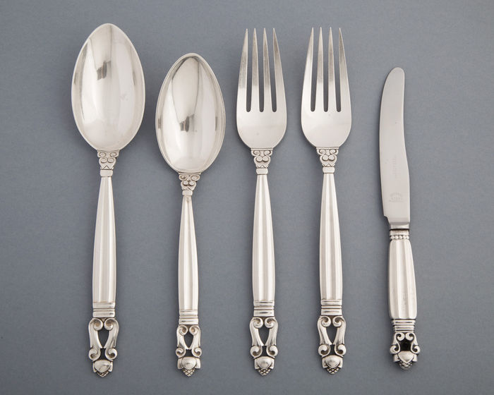"Georg Jensen - ""Acorn"" pattern - sterling silver - two spoons, two forks and one knife"
